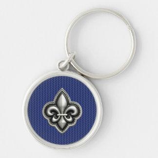 Fleur de Lis Cobalt Blue Silver-Colored Round Keychain