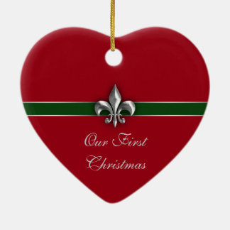 Fleur de Lis Couple First Christmas Ceramic Ornament