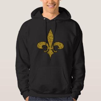 Fleur de lis cracked gold hooded pullover