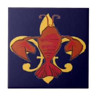 Fleur De Lis Crawfish Ceramic Tile