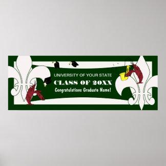 Fleur de Lis Crawfish Graduation Banner Poster