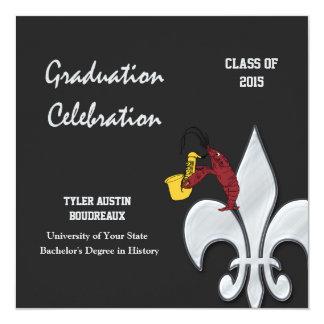 Fleur de Lis Crawfish Graduation (black) Invitation