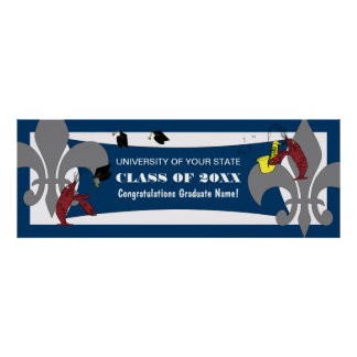 Fleur de Lis Crawfish Graduation Poster