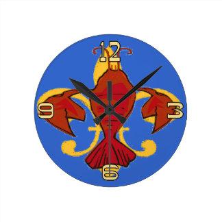Fleur De Lis Crayfish Lobster Design Round Clock