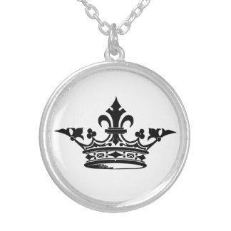 Fleur De Lis Crown in Black and White Round Pendant Necklace