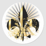 Fleur de Lis, customizable text Classic Round Sticker