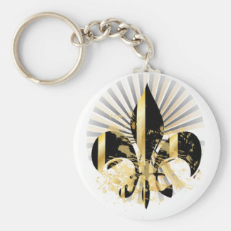 Fleur de Lis customizable text Key Chain