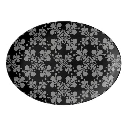 Fleur de lis damask black and grey porcelain serving platter zazzle - Fleur de lis serving tray ...