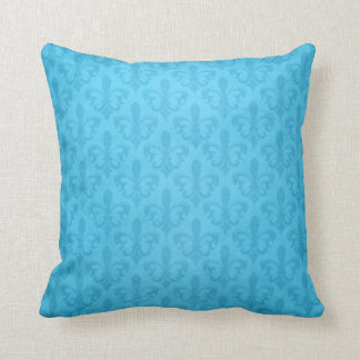 Fleur de lis damask blue throw pillow