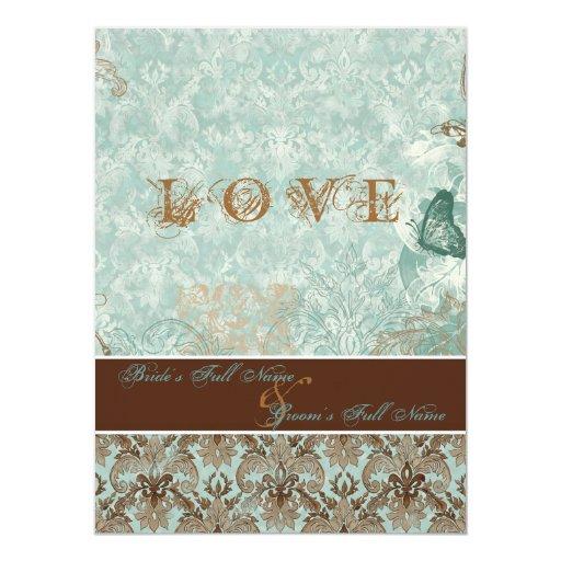 "Fleur de Lis Damask – Modern Weddings Invitations 5.5"" X 7.5"" Invitation Card"