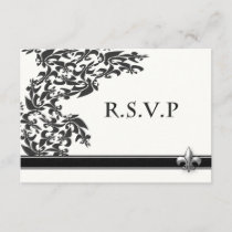 Fleur de Lis Damask Pattern Wedding RSVP Card