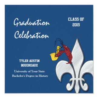 Fleur de Lis Dark Blue Crawfish Graduation Custom Announcement