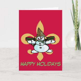 Fleur de Lis Dat, Older New Orleans Snowman, Greeting Card