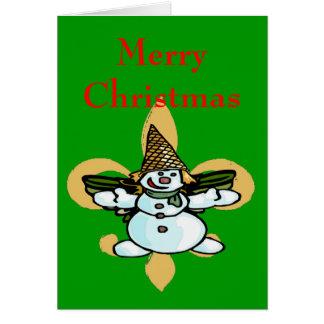 Fleur de Lis Dat, Older New Orleans Snowman, Mr... Card