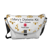 Fleur-de-lis Diabetes Medical Alert  type 1 or 2 Courier Bag