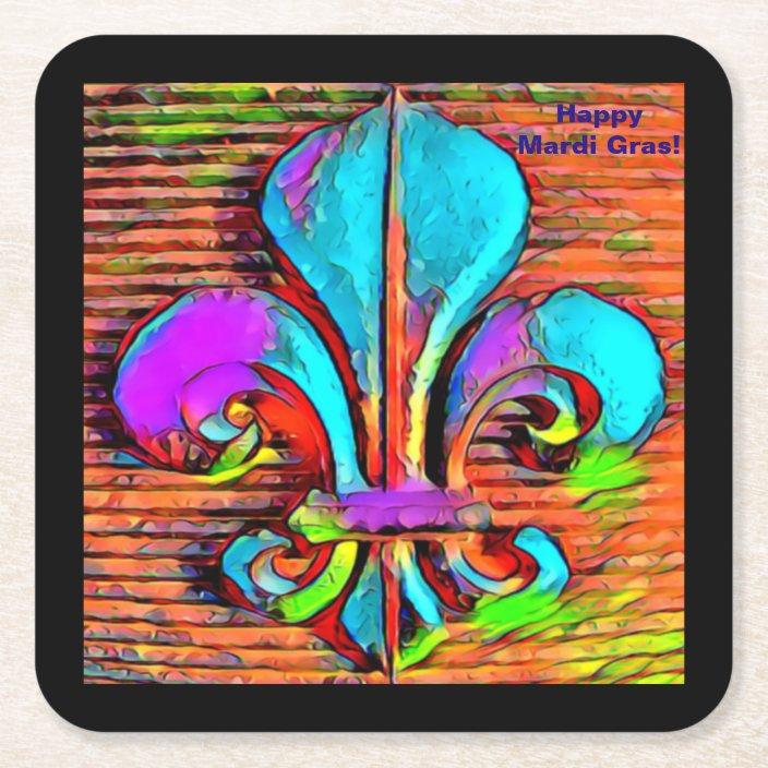 Fleur de Lis Coasters Mardi Gras Colors