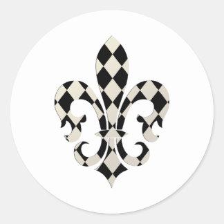Fleur de Lis, DIY background+text Classic Round Sticker