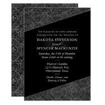 Fleur de Lis Elegant Black Damask Vintage Wedding Invitation