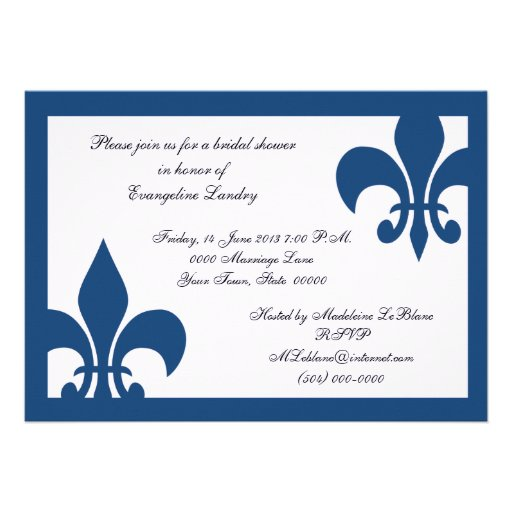 Fleur de Lis event Invitation Dark Blue