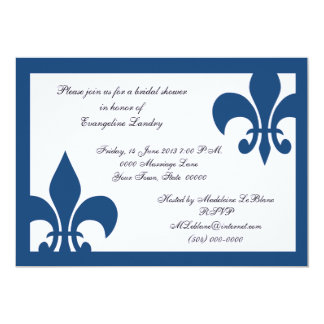 Fleur de Lis event Invitation Dark Blue