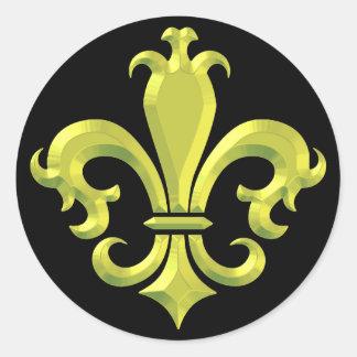 Fleur De LIs Fancy Gold New Orleans Round Sticker