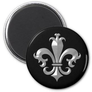 Fleur De LIs Fancy Silver Bevel Saints Classic 2 Inch Round Magnet