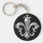 Fleur De LIs Fancy Silver Bevel Saints Classic Basic Round Button Keychain