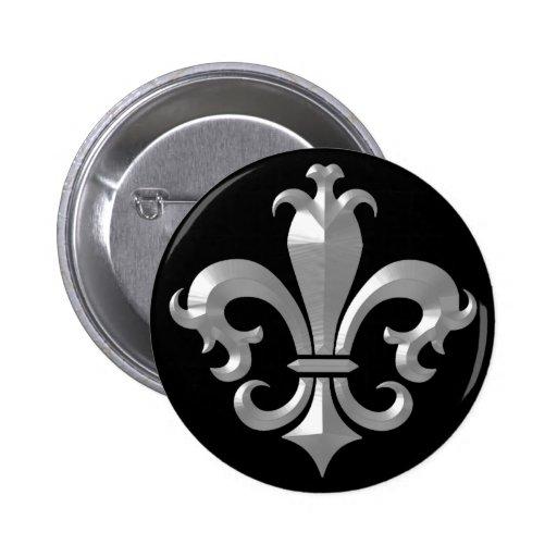 Fleur De LIs Fancy Silver Bevel Saints Classic Pinback Button