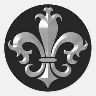 Fleur De LIs Fancy Silver Bevel Saints Classic Classic Round Sticker