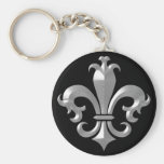 Fleur De LIs Fancy Silver Bevel Saints Classic Key Chain