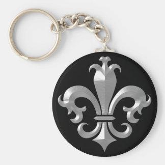 Fleur De LIs Fancy Silver Bevel Saints Classic Keychain