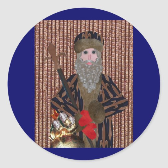 Fleur de Lis Father Christmas Classic Round Sticker