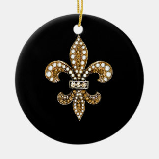 Fleur De Lis Flor  New Orleans Customize Gold Ceramic Ornament
