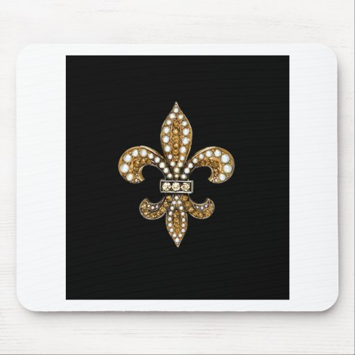 Fleur De Lis Flor  New Orleans Customize Gold Mouse Pad