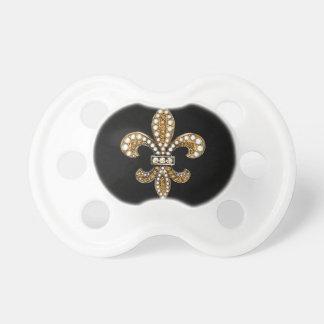 Fleur De Lis Flor  New Orleans Customize Gold Pacifier