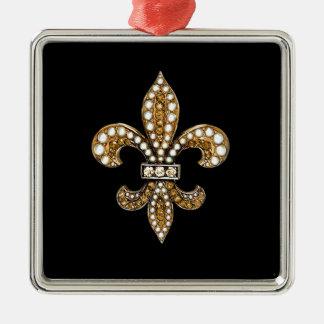 Fleur De Lis Flor  New Orleans Customize Gold Square Metal Christmas Ornament