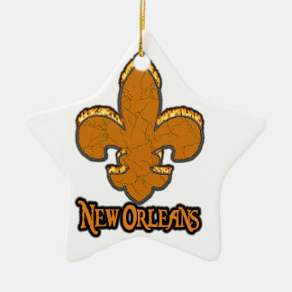 Fleur De Lis Flor  New Orleans Gold Black Fire Ceramic Ornament