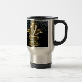Fleur De Lis Flor  New Orleans Gold Black Travel Mug