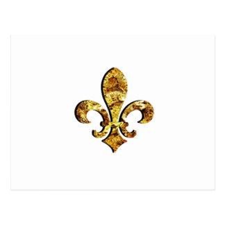 Fleur De Lis Flor  New Orleans Gold Gears Postcard