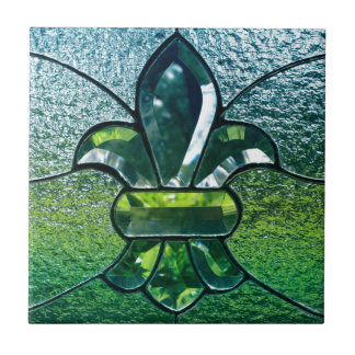 Fleur De Lis Flor  New Orleans Green Sparkle Ceramic Tile