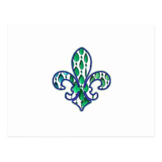 Fleur De Lis Flor  New Orleans Jewel Blue Green Postcard