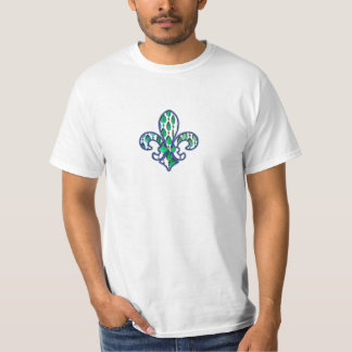 Fleur De Lis Flor  New Orleans Jewel Blue Green T-Shirt