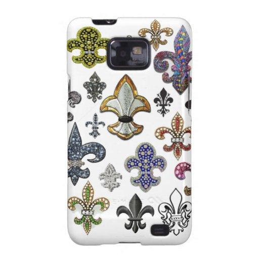 Fleur De Lis Flor  New Orleans Jewel Sparkle Galaxy SII Cases