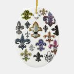 Fleur De Lis Flor  New Orleans Jewel Sparkle Double-Sided Oval Ceramic Christmas Ornament