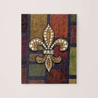 Fleur De Lis Flor  New Orleans Jewel Sparkle Patch Jigsaw Puzzle