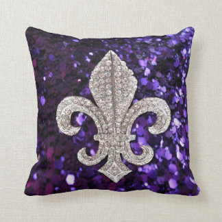 Fleur De Lis Flor New Orleans Jewel Sparkle Pillow