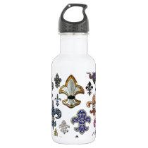 Fleur De Lis Flor  New Orleans Jewel Sparkle Stainless Steel Water Bottle
