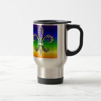 Fleur De Lis Flor  New Orleans Jewel Sparkle Travel Mug