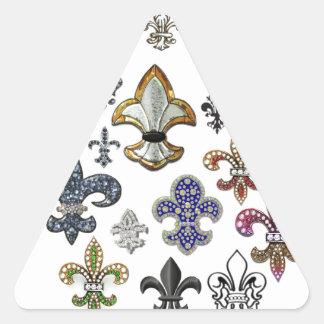 Fleur De Lis Flor  New Orleans Jewel Sparkle Triangle Sticker