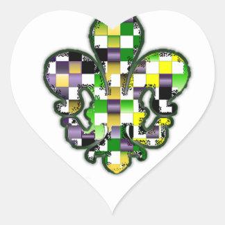 Fleur De Lis Flor  New Orleans Mardi Gras Heart Sticker
